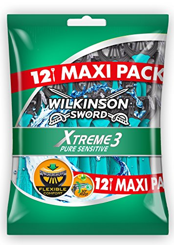 Wilkinson 7000710P Xtreme 3 Pure Sensitive - Paquete de 12 cuchillas de afeitar