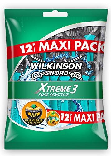 pas cher un bon Wilkinson – Xtreme 3 Pure Sensitive – Rasoir jetable pour homme – Paquet de 12