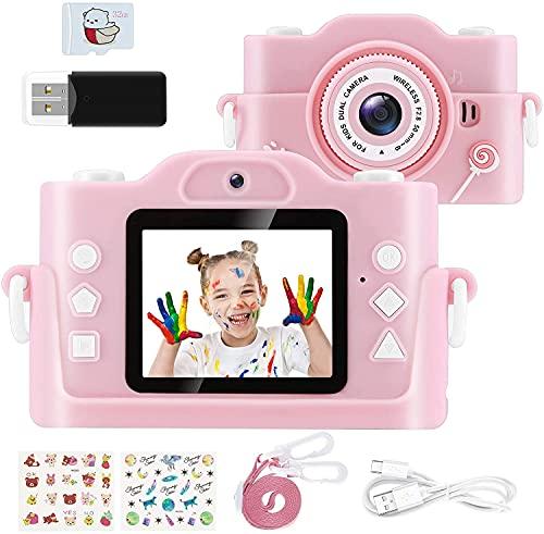 blackpoolal Kinder Kamera, Kinder Digitalkamera mit 2-Zoll1080P HD Bildschirm, 32 GB TF-Karte, 8 Megapixel Selfie Kamera mit Dual Lens für 3-12 Jahren Jungen und Mädchen. USB-Aufladung (Rosa)