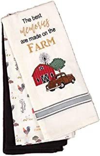 Loving Home Country Primitive Best Memories are Made on The Farm Kitchen Towel Set of 3 Cotton Decorative Tea Towels for Dish and Hand Drying