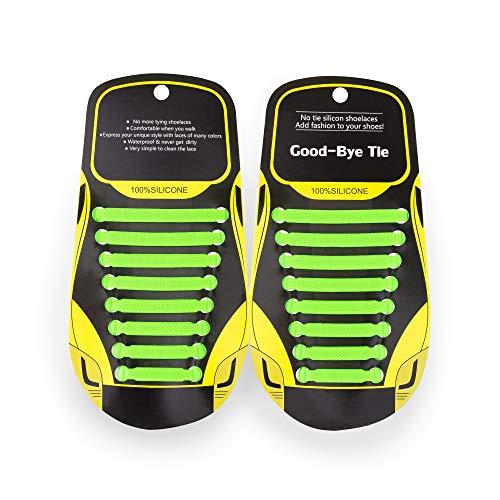 MAROL Elastische Silikon Schnürsenkel – Ohne Binden – Silikonschnürsenkel – Schnürsenkelersatz, Schleifenlose Schuhbänder – Gummischnürsenkel für alle Schuhe – Kinder & Erwachsene (Grün)