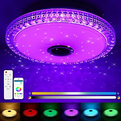 LED Deckenleuchte mit Fernbedienung, 24W RGB Musik Deckenlampe Farbwechsel, Fernbedienung oder Bluetooth APP-Steuerung, LED Deckenleuchte Dimmbar für Wohnzimmer, Kinderzimmer, Schlafzimmer(Ø40cm)