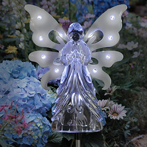 "Exhart Solar Garden Stake Lights – White Angel Memorial or Remembrance Gift w/ 13 Solar LEDs – Outdoor Acrylic Angel, Solar Garden Lights, Garden Décor, Christmas Decorations | (Large 6"" Body- H 40"")"