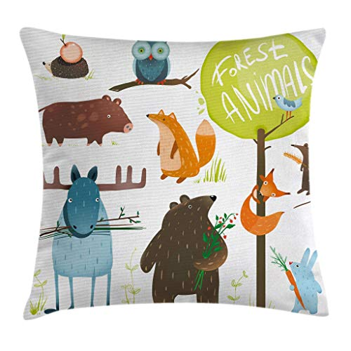SSHELEY Forest Throw Pillow Cushion Cover, Cartoon Style Animals Like Bear Deer Fox Owl Pig Mouse Squirrel and Rabbit Print Pillow Case