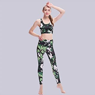 OneChange New Camouflage Printed Sportswear Ms. Fitness Yoga Bra (top) Fitted Pants Suit Two Army Green Camouflage Suit, w...
