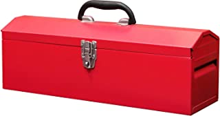 """BIG RED TB101 Torin 19"""" Hip Roof Style Portable Steel Tool Box with Metal Latch Closure and Removable Storage Tray, Red"""