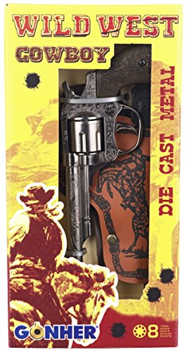 Peterkin-Wild-West Set 8 Tiros-Revolver + Cart, Color Plata, sin Talla (GONHER 201/0)