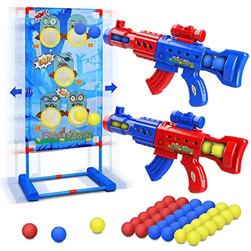 LUKAT Schießen Spielzeug für 6 7 8 9 10+ Jahre Jungen & Mädchen, Popper Luftspielzeug Pistolen mit Beweglichem Zielscheibe, Outdoor Garten Spielzeug Geschenke für Kinder - Kompatibel mit Nerf Pistole
