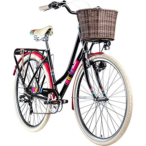 Damenrad 700c Hollandrad Stadtrad 28 Zoll Galano Blush 7 Gang Fahrrad Damen City (schwarz/pink, 48 cm)