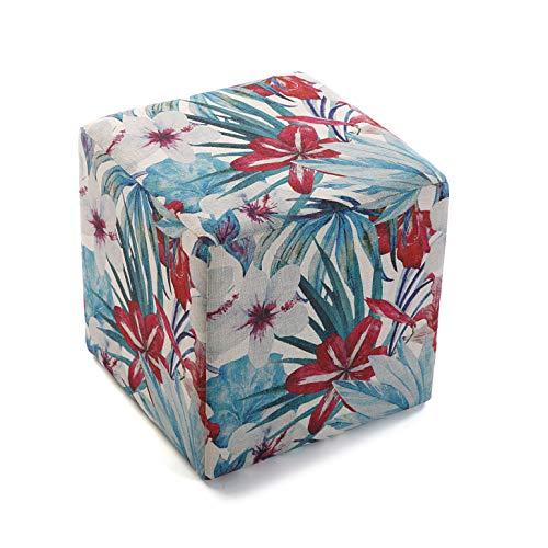 Versa 21350102 Pouf carré en Polyester et Bois, Fleurs Bleues, 35 x 35 x 35 cm