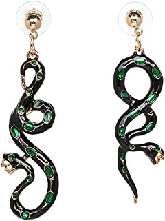 Asymmetrical Emerald Snake Drop Earrings,Cold-blooded Animal Python Cobra Dangle Earrings for Women Girls Christmas Gifts