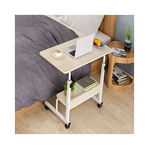 ALBBMY Mesa de mesa con altura ajustable para portátil, portátil, mesa con ruedas, altura ajustable a partir de 60 x 40 cm (color 60 x 40 cm, arce británico B)