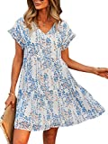 Theenkoln Women Tunic Dress V Neck Short Sleeve Ruffle Floral Printed Casual Loose Flowy Swing Shift Dress 1058 White Large