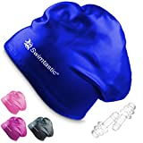 Swimtastic - Long Hair Swim Cap + Ear Plugs - Specially Designed for Swimmers with Long, Thick, or Curly Hair (Pink)