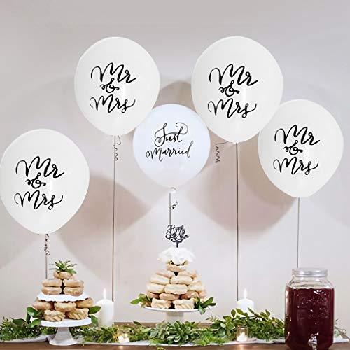Tumao 10 Stück Mr.& Mrs Latexballon Konfetti Luftballons, Ideal für Hochzeit, Junggesellinnen-Abschied, Hen Party, Hochzeits-Deko. (Roségold) - 4
