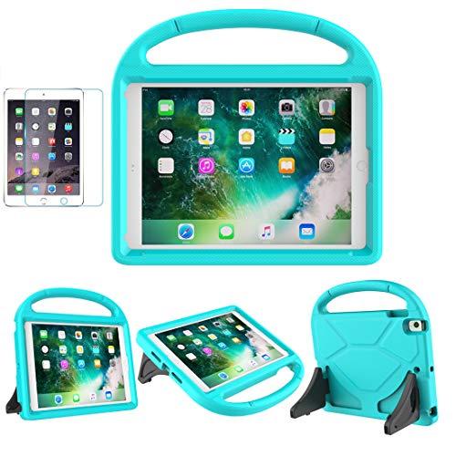 MOXOTEK Kids Case for iPad 9.7 2018/2017 / Air 1/2 / Pro 9.7, Durable Shockproof Protective Handle Stand Bumper Cover with Screen Protector for Apple 9.7 inch 5th/6th Generation, Teal