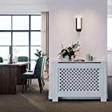 SONNI Cubierta de Radiador Blanco Moderno,Madera,Listones de rombo,Cubre de Calefacción Mediano 112x19x81.5cm