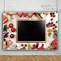 Qinunipoto 3mx2m背景布 Merry Christmas クリスマスギフトボックスクリスマスボール小さな黒板子供写真大人写真ビデオライブ背景Youtubeクリスマスパーティーの装飾家の装飾幼稚園学校の装飾