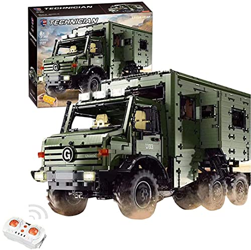 LEJ J907 RC Technik Offroad Wohnmobil Truck mit Dual Fernbedienung Power Pack + Beleuchtung Klemmbaustein Bausatz mit Motorrad kompatibel mit Lego Technic 6689 Teile