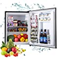 Compact Refrigerator, TECCPO 2.3 Cu.Ft Mini Fridge, Super Quiet, Energy Star, 7 Adjustable Thermostat Control, Reversible Door, Perfect for Office, Dorm, Bedroom, Garage- Black- TAMF05