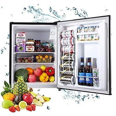 Compact Refrigerator, TECCPO 2.3 Cu.Ft Mini Fridge, Super Quiet, Energy Star, 7 Adjustable Thermostat Control, Reversible Door, Perfect for Office, Dorm, Bedroom, Garage- Black- TAMF05