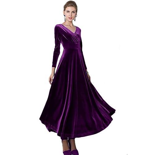 89f96d33be68 Urban CoCo Women Long Sleeve V-Neck Velvet Stretchy Long Dress