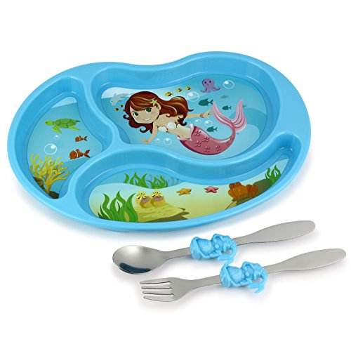 KidsFunwares Me Time PP Dinnerware Set (Mermaid) – 3-Piece Set for Kids and Toddlers – Plate, Fork and Spoon that Children Love - Sparks your Child's Imagination and Teaches Portion Control