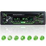 Aigoss Autoradio avec Bluetooth, radio DIN unique, lecteur multimédia FM, USB/TF/SD/AUX, appels mains libres avec contrôle sans fil et éclairage multicolore