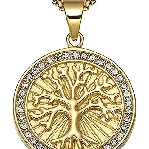 chaosong shop Joyería religiosa de acero inoxidable para hombre y mujer cristiana redonda marca Rhinestone árbol de la vida colgante ecs..