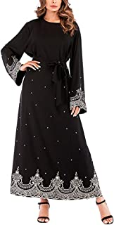 Women Embroidered Bead Decoration Long Sleeve Dress O Neck One-piece Dress Evening Gowns for Ladies (Size 5XL)