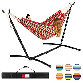 Best ChoiceProducts Double Hammock with Space Saving Steel Stand Includes Portable Carrying Case, Red 8 BRAZILIAN GATHERED-END STYLE: Built to distribute your weight in the center while gathering the fabric to your sides; achieve a new level of comfort by wrapping yourself in a soft, suspended cocoon! BUILT FOR 2: High 450-pound weight capacity easily accommodates up to two people at once! Curl up with your favorite company for some well-earned rest HEAVY-DUTY STAND: Tempered steel frame assembles easily and provides a stable surface that is perfect for sleep, relaxation, camping, picnics and more