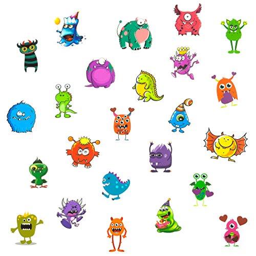 Oblique-Unique® 24 lustige Bunte Monster Tattoo Sticker I Kinder Geburtstag Party I Temporäre Tattoos
