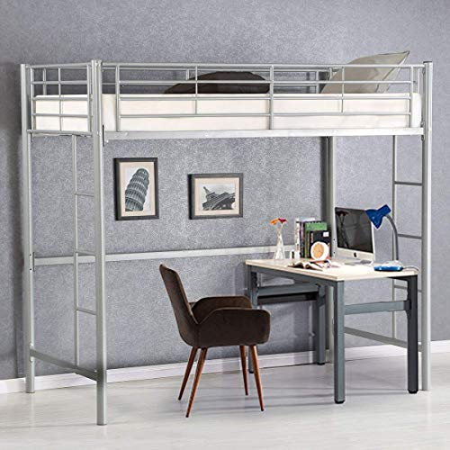 Costzon Twin Metal Loft Bed, Metal Bunk Bed with Ladders Guard Rail for Boys & Girls Teens Kids Bedroom Dorm (Silver)