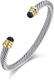 Twisted Cable Bracelet Designers Inspired Cuff Bracelets with Gemstones