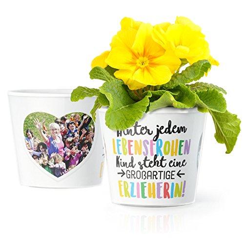 Facepot Erzieherin Geschenk Blumentopf (ø16cm) - Zum Kindergarten Abschluss oder Geburtstag mit Rahmen für Zwei Fotos (10x15cm) - Hinter jedem lebensfrohen Kind Steht eine großartige Erzieherin!