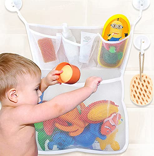 Bath Toy Storage, Extra Durable Washable Bath Toy Holder, Mesh Bath Toy Organizer for Tub, Bathtub Toy Holder with 4 Suction Cups, Bath Toy Net Corner Caddy Basket, Baby Bath Toy Holders for The Tub