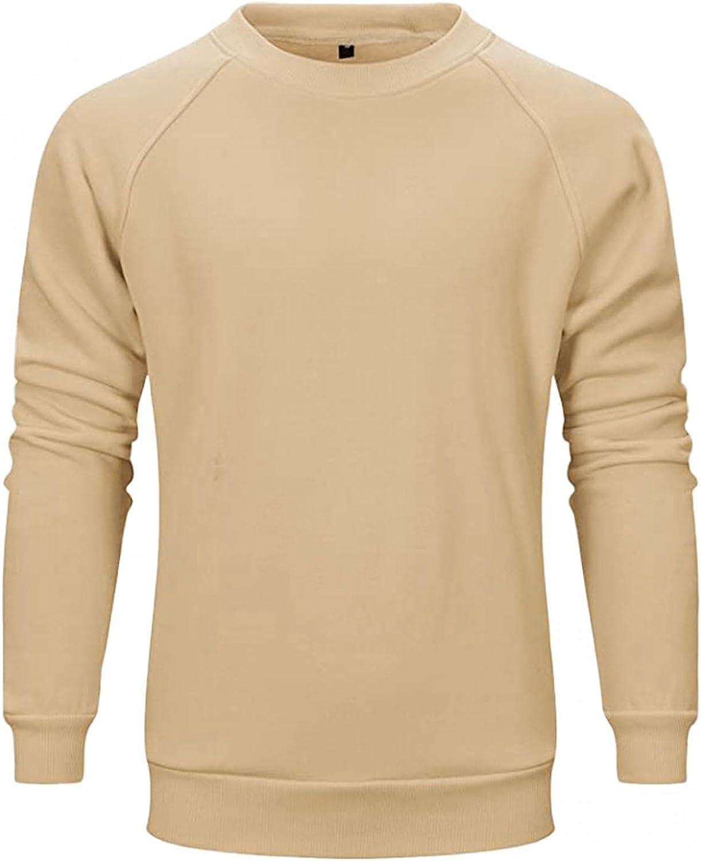 Mens Fashion Pullover Regular-fit Long-Sleeve Hippie Crewneck Athletic Sport Sweatshirt Solid Color T-shirt