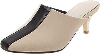 KemeKiss Women Fashion Mules Kitten Heels Slip On Sandals Closed Toe Summer Shoes