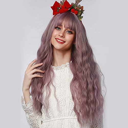 TopWigy 26 Zoll Perücke Damen Lila gemischter Braun Lang Locken, Gewellte Synthetische Haar Perücken mit Pony für Frauen Mädchen Mittelteil Cosplay Halloween Kostüm Party