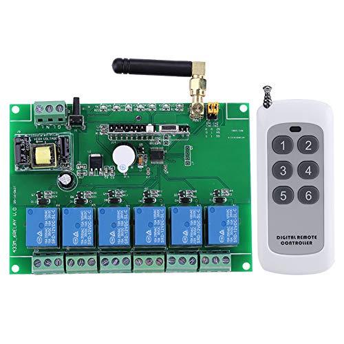 Interruptor Remoto RF -1pc 110-240V Interruptor de Control Remoto de la Placa del módulo de relé RF de 6 Canales