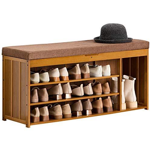 HBING Banco Zapatero, Banco De Almacenamiento De Bambú, Estante para Zapatos De 3 Niveles, Moderno, Muebles con Cojín Suave, Ideal para Pasillo, Dormitorio, Baño, Sala De Estar