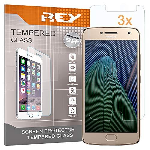 REY Pack 3X Panzerglas Schutzfolie für Motorola Moto G5 Plus, Bildschirmschutzfolie 9H+ Festigkeit, Anti-Kratzen, Anti-Öl, Anti-Bläschen