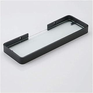JUCAIYUAN 浴室の棚無料パンチガラス棚単層ミラーフロントフレームウォッシュラック浴室のシャワーガラスラック (色 : ブラック, サイズ さいず : 35cmX12cm)