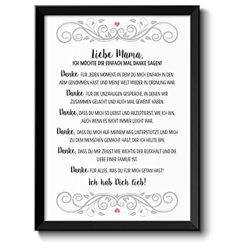 Muttertagsgeschenk Danke Mama Bild im schwarzem Holz-Rahmen Geschenke Geschenkideen Muttertag Mama Mutter