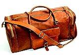 24' Vintage Style Brown Leather Duffel Bag - Gym Sports Luggage Travel Overnight Weekender - by Firu-Handmade