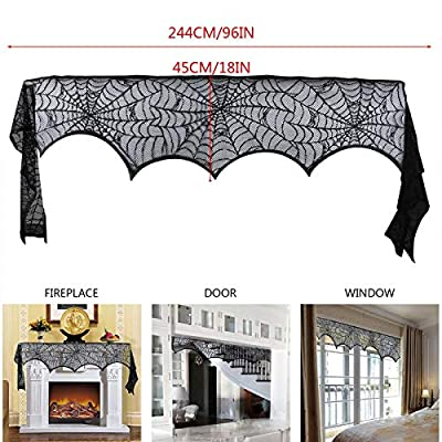 LOANPE Spider Web Halloween Fireplace Decorations, 18 x 96 inch Fireplace Mantle Scarf Cover, Black Lace Spider Web for Door, Window and Fireplace Decoration, Halloween Decorations from LOANPE
