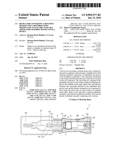 Device for converting a rotating motion into a reciprocating motion and an electric mascara applicator assembly having such a device: United States Patent (English Edition)