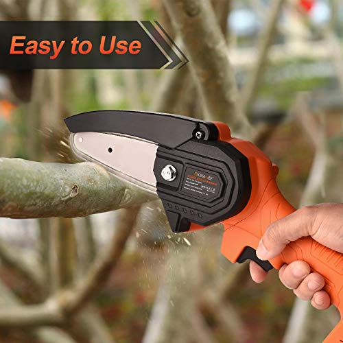 Mini Chainsaw Cordless 20V 2pcs Batteries, GOXAWEE 4 Inch Electric Power Chain Saw, One-Hand Operated Portable Wood Saw for Farming Tree Limbs, Garden Pruning, Bonsai Trunk, and Firewood