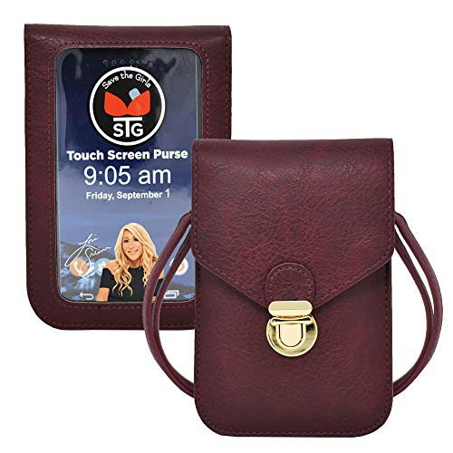Touch Screen Purse by Lori Greiner Fits Most Smartphones – Stylish Crossbody with Shoulder Strap -RFID Keeps Cash, Credit Cards, Phone Screens Safe- Wine