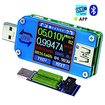USB Meter, Tester, Multimeter, USB Load, UM25C,Bluetooth Type-c Current Tester, Voltage Detector, DC 24.000V 5.0000A, Test Speed of Charger Cables, Capacity of Power Bank, QC 2.0 3.0